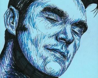 Original pen drawing of Morrissey