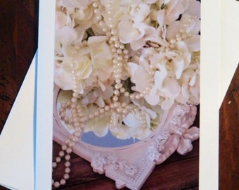 Pearls on Mirror.  Photo Greeting/Note Card. Blank Inside.