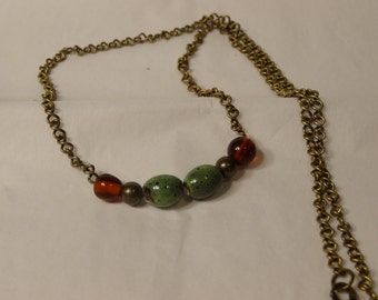 Green and Amber Brass Necklace