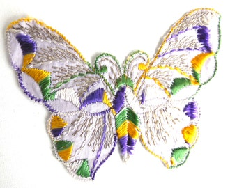 Applique, butterfly 1930s vintage embroidered applique. Vintage patch, sewing supply. #645GC8K15