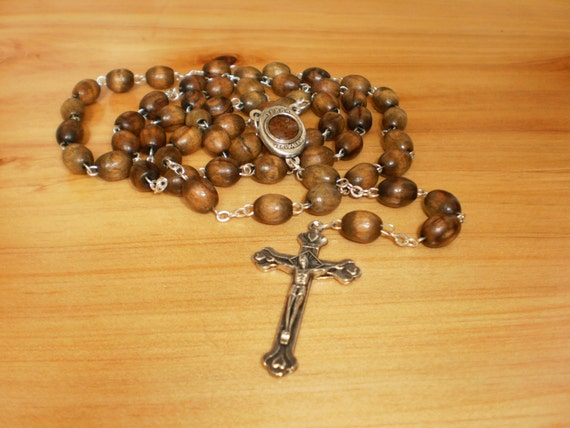 Authentic Olive Wood Rosary Necklace Oval By