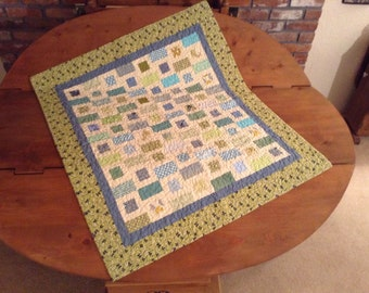 Quilt, soft blues, Greens and Turquoise
