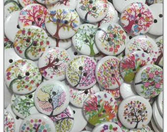"""8 or 16 Tree buttons, painted tree buttons, random mix tree, novelty buttons, scrapbooking, sewing crafts, 20mm 3/4"""" 20 mm 3/4 inch"""