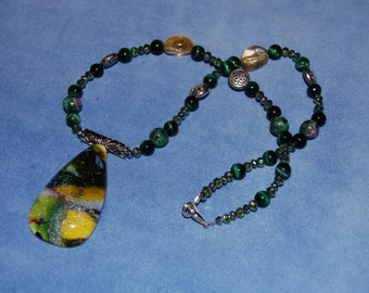 Forest Magick Necklace - dichroic glass - celtic - woods