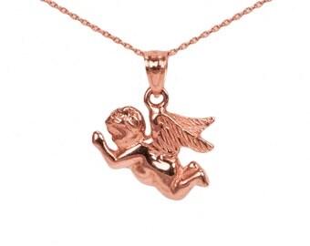 14k Rose Gold Angel Necklace