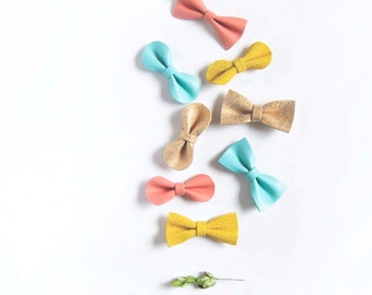 Baby Nylon Headband Mini Bow Leather Crocodile Clip Beach Mix Robin's Egg Blue, Sand Shimmer, Coral & Bright Yellow Baby/Adult Bow,