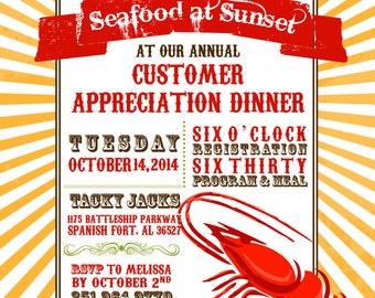 Shrimp Dinner Invitation 10/pk