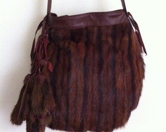 Really chic crossbody bag from real mink fur velvet and soft fur, with fur decoration stylish bag steep bag new collection has size-medium.