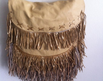 Real handmade crossbody bag, from soft leather with elements of fashionable leather fringe new women's beige & golden bag size - large.