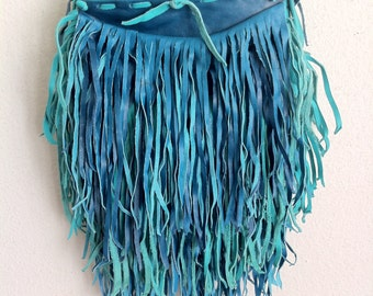 Blue fringe leather bag
