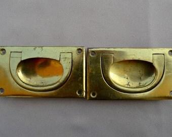 Antique English Pair of Boat Handles Heavy Brass Flush Mount