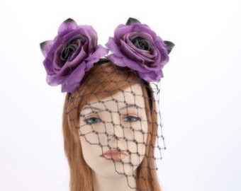 Flower fascinator with face veil for Derby Dubai Cup races Any color is possible