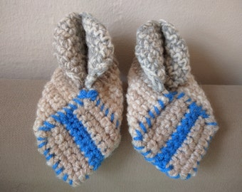 Home-made Crochet Slippers - Grey & Blue