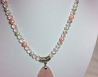 Pink Agate Triangular Pendant Necklace with Earrings