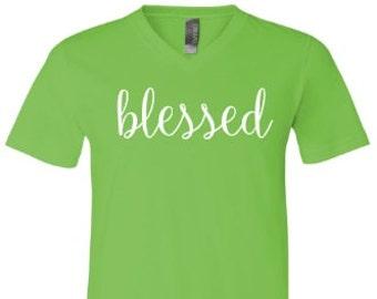 Blessed t-shirt - blessed t-shirt -  blessed v-neck shirt -  blessed v-neck t-shirt -  christian shirt - christian t-shirt