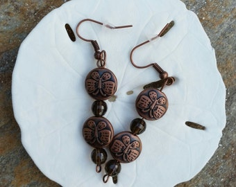 Copper Plated Butterfly, Smoky Quartz Gemstones, Dangling Earrings