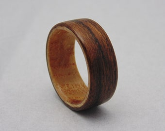 Black Limba Bentwood Ring with Ash Burl Olive Liner Handcrafted