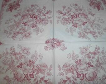 Floral Napkins for decoupage x 3
