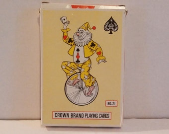 Vintage 1960s Large Crown Brand Playing Card Deck King Size No. 21