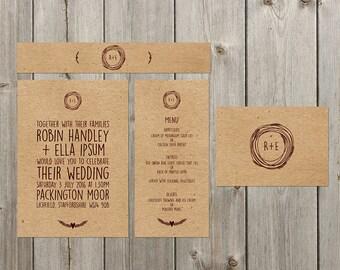 DIY Customisable Wedding Stationery Set - Invites, RSVP, Info Card & Belly Band - Rustic - Kraft Paper