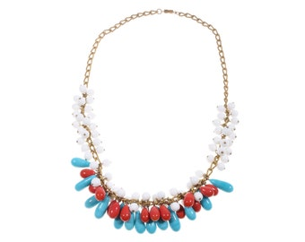 Blue and red beaded vintage necklace