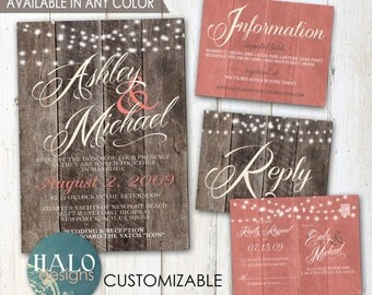 Rustic Wedding, Coral, Save The Date, Invitation Kit, Thank You Card, Printable, Postcard, wood planks
