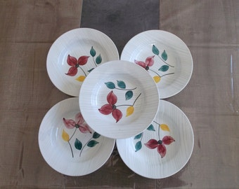 antique flat English - 5 plates to soup Digoin Sarreguemines - hand painted