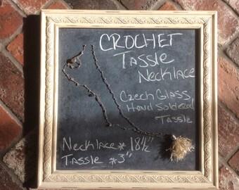 CROCHET TASSEL NECKLACE czech glass soldered tassel