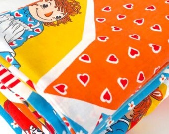 Vintage Raggedy Ann and Andy Bedding Set 70's Fabric