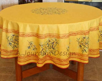 French PETITE OLIVE RUST Acrylic Coated Round Tablecloth   French Oilcloth  Indoor Outdoor Tablecloths   French