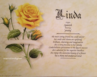 Linda First Name Meaning Art Print-8x10 Art-Name Meaning Print-Personalized-Home Decor-Birthday-Wedding-Graduation-Mother's Day