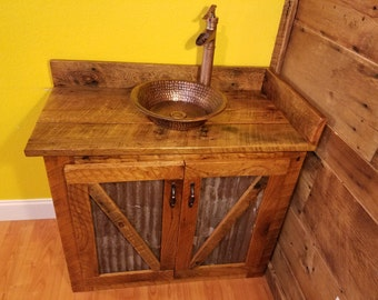 Rustic Barn Wood and Weathered Tin Vanity with Hammered Copper Vessel Sink and Waterfall Faucet