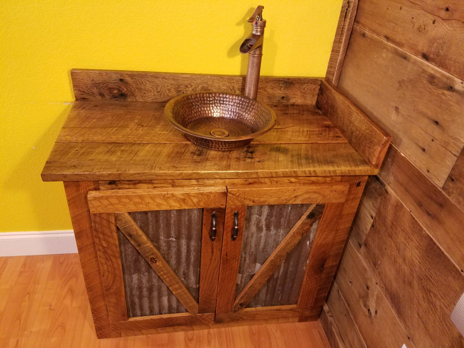Rustic Barn Wood And Weathered Tin Vanity With Hammered Copper
