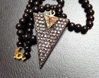 Gold and Black Triangle Necklace