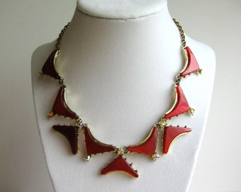 Red Lucite Mid Century Necklace - Rhinestone Accents - Vintage