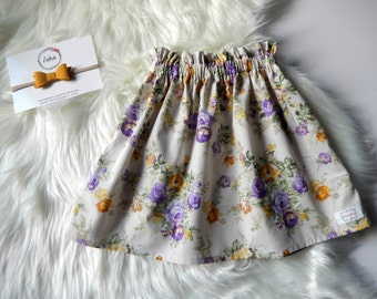Girls Skirt, Paper bag Skirt, High waisted Skirt, Paperbag, Floral Skirt
