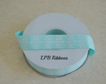 "7/8"" aqua glittered ribbon, grosgrain ribbon, ribbon, US Designer ribbon"