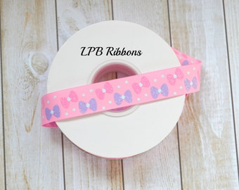 Geranium pink ribbon with glittered bows, US Designer ribbon, US Designer, Geranium Pink Ribbon, Pink Ribbon, Glittered ribbon