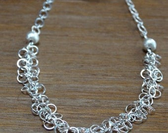 Silver Circle Chain Dangle Necklace