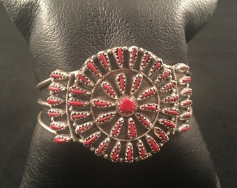 Native American Zuni Coral & Sterling Silver Petit Point Cuff Bracelet