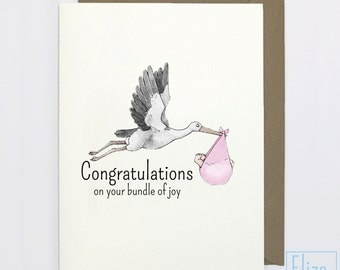 Pink Stork - Congratulations // Illustrated Greeting Card