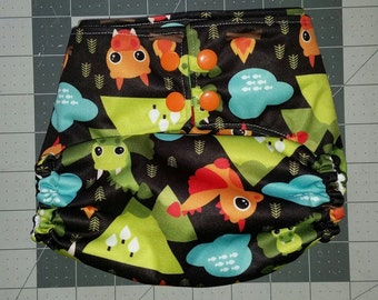 OS velcro PUL diaper cover *Dragons