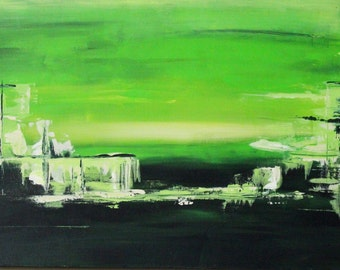 Abstract green - acrylic on canvas - 40 x 60 cm