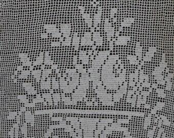 Lace Tablecloth 46cm x 76cm White Lace Handmade