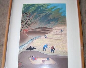 Vintage Signed Woodblock Print Bakufu Ohno Japanese 1950's