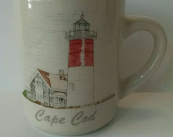 Cape Cod Red And White Lighthouse Coffee Mug Cup