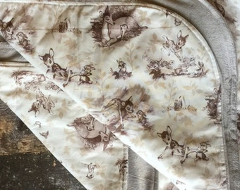 Custom Bambi Toile Wholecloth Baby Quilt
