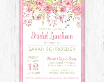 Floral Bridal Luncheon Invitation / Pink and Green
