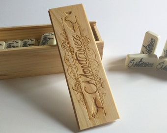 Personalized Engraved Domino and box