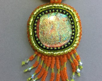 Dichroic Bead Embroidered Pendant